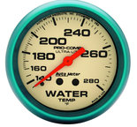 "Autometer Gauge, Water Temp, 2 5/8"", 140-280şF, Mech., 4ft., Glow in Dark, Ultra-Nite 4535"