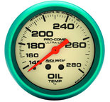 "Autometer Gauge, Oil Temp, 2 5/8"", 140-280şF, Mech., Glow in the Dark, Ultra-Nite 4541"