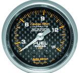 "Autometer Gauge, Fuel Pressure, 2 5/8"" 0-15psi, Mechanical, Carbon Fiber 4711"