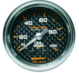 "Autometer Gauge, Oil Pressure, 2 1/16"", 100psi, Mechanical, Carbon Fiber 4721"