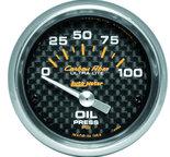 "Autometer Gauge, Oil Pressure, 2 1/16"", 100psi, Electric, Carbon Fiber 4727"