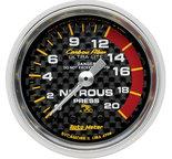 """Autometer Gauge, Nitrous Pressure, 2 1/16"""", 1600psi, Mechanical, Carbon Fiber 4728"""