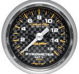 """Autometer Gauge, Pyrometer (EGT), 2 1/16"""", 1600şF, Stepper Motor, Carbon Fiber 4744"""