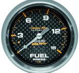 "Autometer Gauge, Fuel Pressure, 2 5/8"", 15psi, Mech. Incl. Isolator, Carbon Fiber 4813"