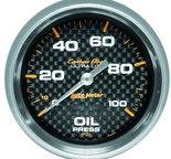 "Autometer Gauge, Oil Pressure, 2 5/8"", 100psi, Mechanical, Carbon Fiber 4821"
