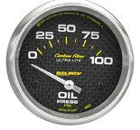 "Autometer Gauge, Oil Pressure, 2 5/8"", 100psi, Electric, Carbon Fiber 4827"