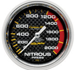 """Autometer Gauge, Nitrous Pressure, 2 5/8"""", 1600psi, Mechanical, Carbon Fiber 4828"""