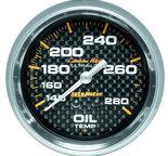 "Autometer Gauge, Oil Temp, 2 5/8"", 140-280şF, Mechanical, Carbon Fiber 4841"