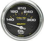 """Autometer Gauge, Oil Temp, 2 5/8"""", 140-300şF, Electric, Carbon Fiber 4848"""