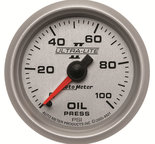 "Autometer Gauge, Oil Pressure, 2 1/16"", 100psi, Mechanical, Ultra-Lite II 4921"