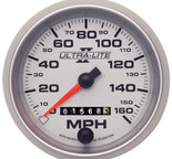 "Autometer Gauge, Speedometer, 3 3/8"", 160mph, Mechanical, Ultra-Lite II 4993"