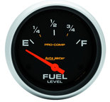 "Autometer Gauge, Fuel Level, 2 5/8"", 240?E to 33?F, Elec, Pro-Comp 5417"
