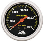 "Autometer Gauge, Oil Press, 2 5/8"", 200psi, Liquid Filled Mech, Pro-Comp 5422"