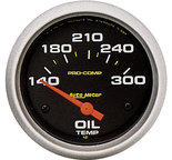 "Autometer Gauge, Oil Temp, 2 5/8"", 140-300şF, Electric, Pro-Comp 5447"
