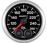 """Autometer Gauge, Oil Temp, 2 1/16"""", 260şF, Stepper Motor w/Peak & Warn, Elite 5638"""