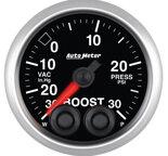 """Autometer Gauge, Vac/Boost, 2 1/16"""", 30inHG-30psi, Stepper Motor w/Peak & Warn, Elite 5677"""
