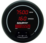 "Autometer Gauge, Tach/Speedo, 3 3/8"", 120mph/8k RPM, Elec. Program, Digital, Blk Dial w/ Red LED 6387"