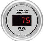 "Autometer Gauge, Fuel Level, 2 1/16"", 0-280? Program., Digital, Silver Dial w/ Red LED 6510"