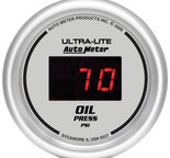 "Autometer Gauge, Oil Pressure, 2 1/16"", 100psi, Digital, Silver Dial w/ Red LED 6527"