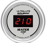 "Autometer Gauge, Water Temp, 2 1/16"", 340şF, Digital, Silver Dial w/ Red LED 6537"