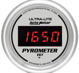"Autometer Gauge, Pyrometer (EGT), 2 1/16"", 1600şF, Digital, Silver Dial w/ Red LED 6545"