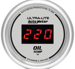 "Autometer Gauge, Oil Temp, 2 1/16"", 340şF, Digital, Silver Dial w/ Red LED 6548"