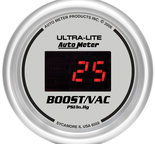 "Autometer Gauge, Vac/Boost, 2 1/16"", 30inHg-30psi, Digital, Silver Dial w/ Red LED 6559"