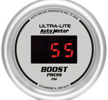 "Autometer Gauge, Boost, 2 1/16"", 60psi, Digital, Silver Dial w/ Red LED 6570"