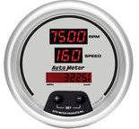 "Autometer Gauge, Tach/Speedo, 3 3/8"", 120mph/8k RPM, Elec. Program, Digital, Slvr Dial w/ Red LED 6587"