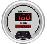 "Autometer Gauge, Speedo, 3 3/8"", 160mph, Elec. Program., Digital, Silver Dial w/ Red LED 6588"