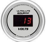 "Autometer Gauge, Voltmeter, 2 1/16"", 18V, Digital, Silver Dial w/ Red LED 6593"