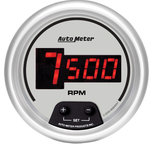 "Autometer Gauge, Tach, 3 3/8"", 10k RPM, In-Dash, Digital, Silver Dial w/ Red LED 6597"