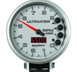"Autometer Gauge, Tach, 5"", 9k RPM, Pedestal, Datalogging, Ultimate III Playback, Silver 6882"