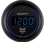"Autometer Gauge, Nitrous Pressure, 2 1/16"", 1600psi, Digital, Black Dial w/ Blue LED 6974"