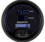 "Autometer Gauge, Tach/Speedo, 3 3/8"", 120mph/8k RPM, Elec. Program, Digital, Blk Dial w/ Blue LED 6987"