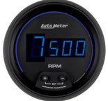 "Autometer Gauge, Tach, 3 3/8"", 10k RPM, In-Dash, Digital, Black Dial w/ Blue LED 6997"