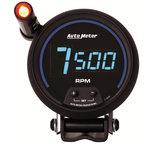 """Autometer Gauge, Tach, 3 3/4"""", 10k RPM, Pedestal w/ ext. Quick-Lite,  Digital, Blk Dial w/ Blue LED 6999"""