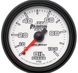 "Autometer Gauge, Oil Pressure, 2 1/16"", 100psi, Mechanical, Phantom II 7521"