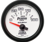 "Autometer Gauge, Oil Pressure, 2 1/16"", 100psi, Electric, Phantom II 7527"