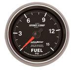 "Autometer Gauge, Fuel Pressure, 2 5/8"", 15psi, Mechanical, Sport-Comp II 7611"