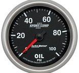 "Autometer Gauge, Oil Pressure, 2 5/8"", 100psi, Mechanical, Sport-Comp II 7621"