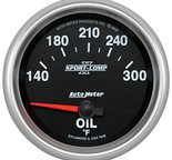 """Autometer Gauge, Oil Temp, 2 5/8"""", 140-300şF, Electric, Sport-Comp II 7648"""