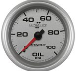 "Autometer Gauge, Oil Pressure, 2 5/8"", 100psi, Mechanical, Ultra-Lite II 7721"