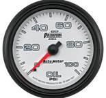 "Autometer Gauge, Oil Pressure, 2 5/8"", 100psi, Mechanical, Phantom II 7821"