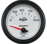 "Autometer Gauge, Oil Pressure, 2 5/8"", 100psi, Electric, Phantom II 7827"