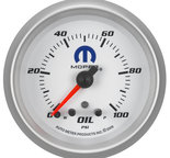 "Autometer Gauge, Oil Press, 2 5/8"", 100psi, Stepper Motor w/ Peak & Warn, White, Mopar 880249"