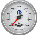 "Autometer Gauge, Oil Temp, 2 5/8"", 340şF, Stepper Motor w/ Peak & Warn, White, Mopar 880251"