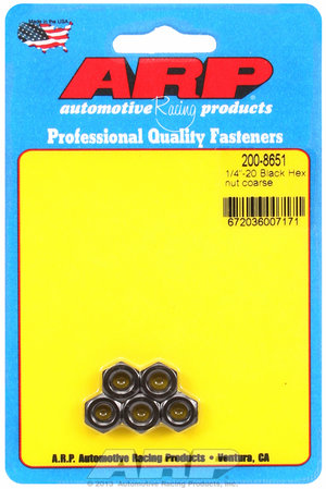 ARP 1/4-28 black coarse hex nut kit 2008651