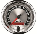 "Autometer Gauge, Speedo., 3 3/8"", 260km/h, Elec. Programmable, American Muscle 1288-M"
