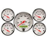 "Autometer Gauge Kit, 5 pc., 3 1/8"" & 2 1/16"", Elec. km/h Speedo., Arctic White 1302-M"